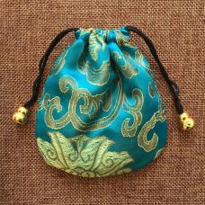 MS019-01 Мешочек из парчи 11х11см, цвет бирюзовый