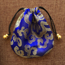 MS019-04 Мешочек из парчи 11х11см, цвет синий