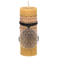 MSV036 Свеча с амулетом Цветок Жизни, воск, металл, 10х3,7см