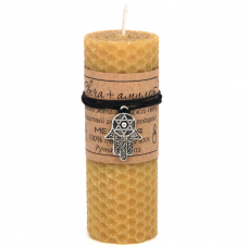 MSV044 Свеча с амулетом Хамса со Звездой Давида, воск, металл, 10х3,7см