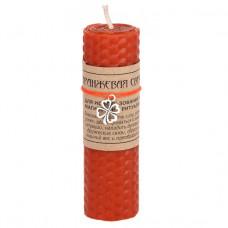 MSV065 Оранжевая магическая свеча с талисманом Клевер (удача), воск, 10х3,2см