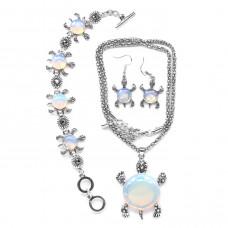 NJ001 Набор бижутерии (кулон с цепочкой, серьги, браслет) Черепаха, опалит (лунный камень)