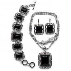 NJ005 Набор бижутерии (кулон с цепочкой, серьги, браслет) Чёрный агат