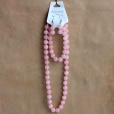 NJ010-02 Набор Бусы, браслет, серьги из натурального камня Розовый кварц 8мм