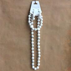 NJ010-04 Набор Бусы, браслет, серьги из натурального камня Кахолонг 8мм