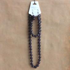 NJ010-05 Набор Бусы, браслет, серьги из натурального камня Аметист 8мм