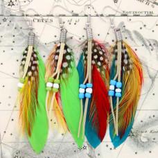 SE010MIX Серьги с перьями экзотических птиц, цвет в ассорт.
