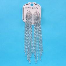 SE017 Длинные серьги со стразами Каскад 11,3см, цвет серебр.