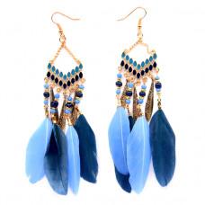SE020-1 Серьги с синими перьями, эмаль, цвет золото