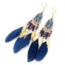 SE020 Серьги с синими перьями 12см, цвет золото