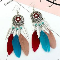 SE021 Серьги с цветными перьями 12см, цвет серебро