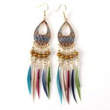 SE022 Серьги с цветными перьями 12см, цвет золото