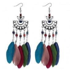 SE023 Серьги с цветными перьями 12см, цвет серебро