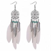 SE024-2 Серьги с белыми перьями 12см, цвет серебро