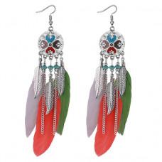 SE024 Серьги с цветными перьями 12см, цвет серебро