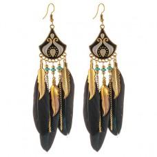 SE026 Серьги с чёрными перьями 12,5см, цвет золото