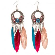 SE027 Серьги с цветными перьями 12см, цвет серебро