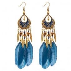 SE028 Серьги с синими перьями 12,5см, цвет античное золото
