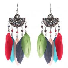 SE029 Серьги с цветными перьями 11,5см, цвет серебро