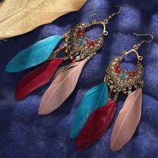 SE033 Серьги с цветными перьями 12,5см, цвет античное золото