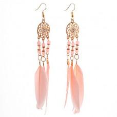 SE035 Серьги с розовыми перьями 13,5см, цвет золото
