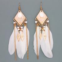 SE037-3 Белые серьги с перьями 9,5см