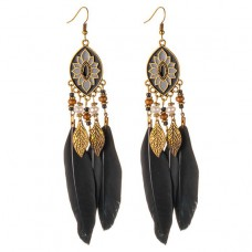 SE039 Серьги с чёрными перьями 13см, цвет античное золото