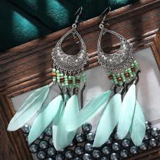 SE040 Серьги с перьями 14см, цвет серебро, нежно-бирюзовый