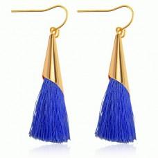 SE048-2 Серьги - кисточки Конус 75мм, цвет синий