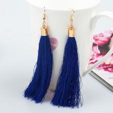 SE055-2 Серьги - кисточки 11см, цвет синий