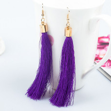 SE055-4 Серьги - кисточки 11см, цвет фиолетовый