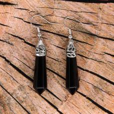 SE059-04 Серьги - маятники Чёрный агат