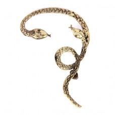 SE076 Большая серьга Змея 6х4см, цвет бронз.