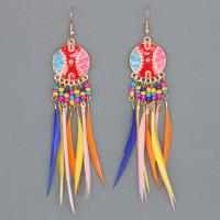 SE109-1 Цветные серьги с перьями 9см