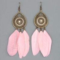 SE110-2 Розовые серьги с перьями 9см