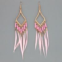 SE114-1 Розовые серьги с перьями 10см