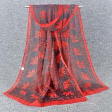 SF001-6 Шарф Слоны, шифон, цвет красный