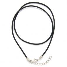 SH002 Резиновый шнурок для амулета с застёжкой, цвет чёрный
