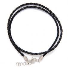 SH003B Кожаный плетёный шнурок с застёжкой, цвет чёрный