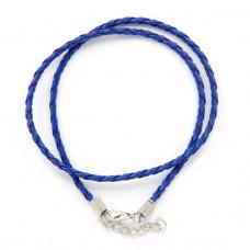 SH003DB Кожаный плетёный шнурок с застёжкой, цвет синий