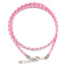 SH003P Кожаный плетёный шнурок с застёжкой, цвет розовый