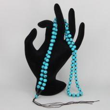 SH007 Чётки для амулета (кулона), пластик, голубые бусины
