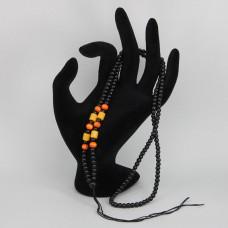SH010 Чётки для амулета (кулона), пластик, черные и коричневые бусины