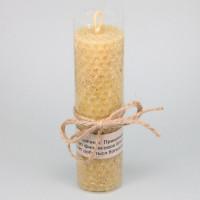 SVM8-03 Свеча из вощины с травой Золототысячник 13х3,5см