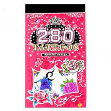 TTI012-36 Временные татуировки набор 5 листов 8,5х16см Розы и бабочки