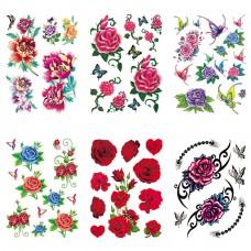 TTK003-101 Временные татуировки набор 6 листов 12х17,5см Розы