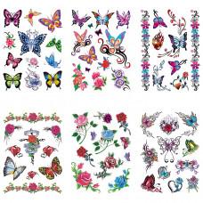 TTK003-106 Временные татуировки набор 6 листов 12х17,5см Бабочки, розы