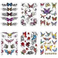 TTK003-109 Временные татуировки набор 6 листов 12х17,5см Бабочки