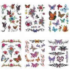 TTK003-110 Временные татуировки набор 6 листов 12х17,5см Бабочки, розы