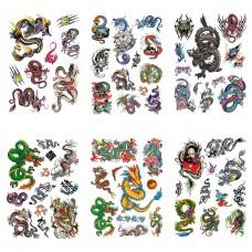 TTK003-201 Временные татуировки набор 6 листов 12х17,5см Драконы